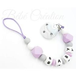 attache-tetine-hexagone-violette-grise-attache-sucette-prenom