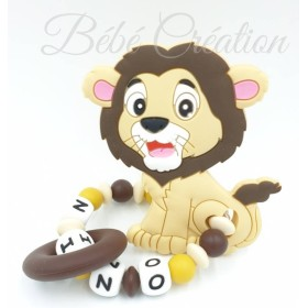 Hochet silicone Lion Nature personnalisé Hochet perle silicone