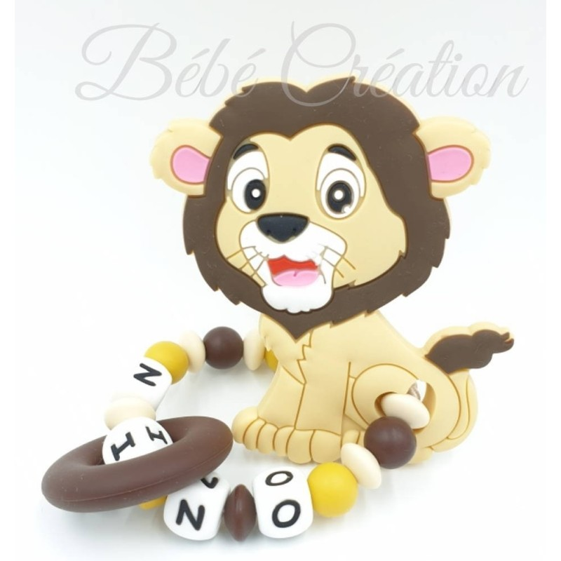 Hochet-perle-silicone-personnalisable-Hochet-silicone-Lion-Nature-personnalise