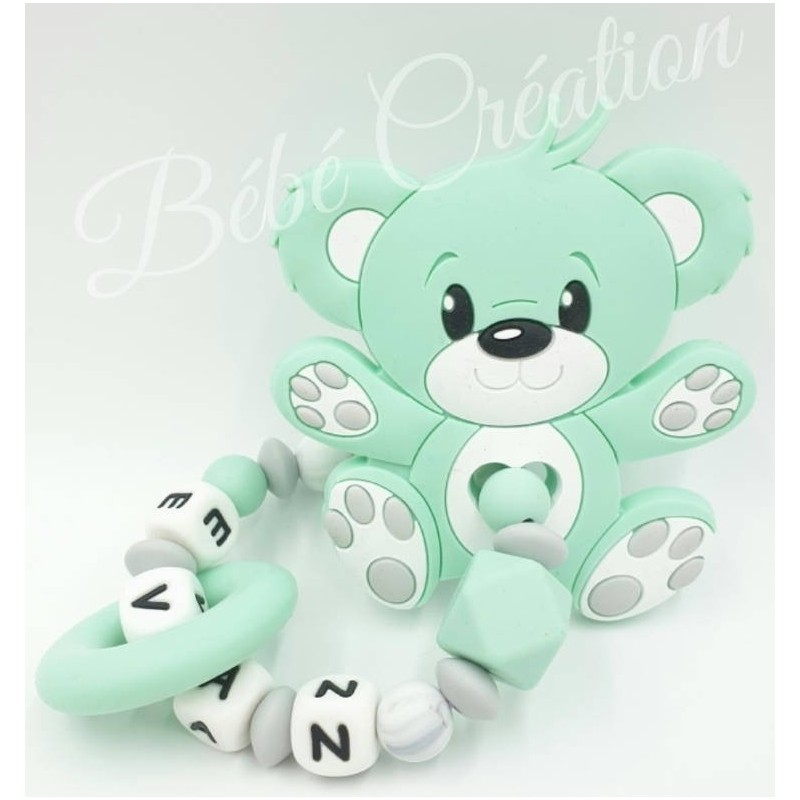 Hochet-perle-silicone-personnalisable-Hochet-silicone-Ourson-Menthe-personnalise