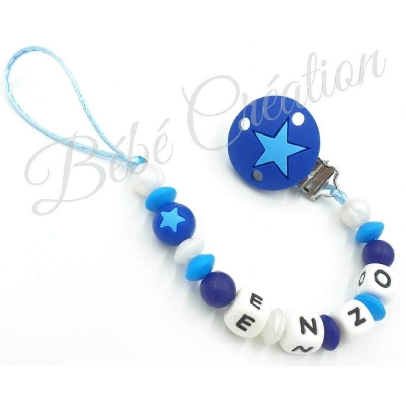 Attache-tetine-silicone-Etoile-Bleu-Marine