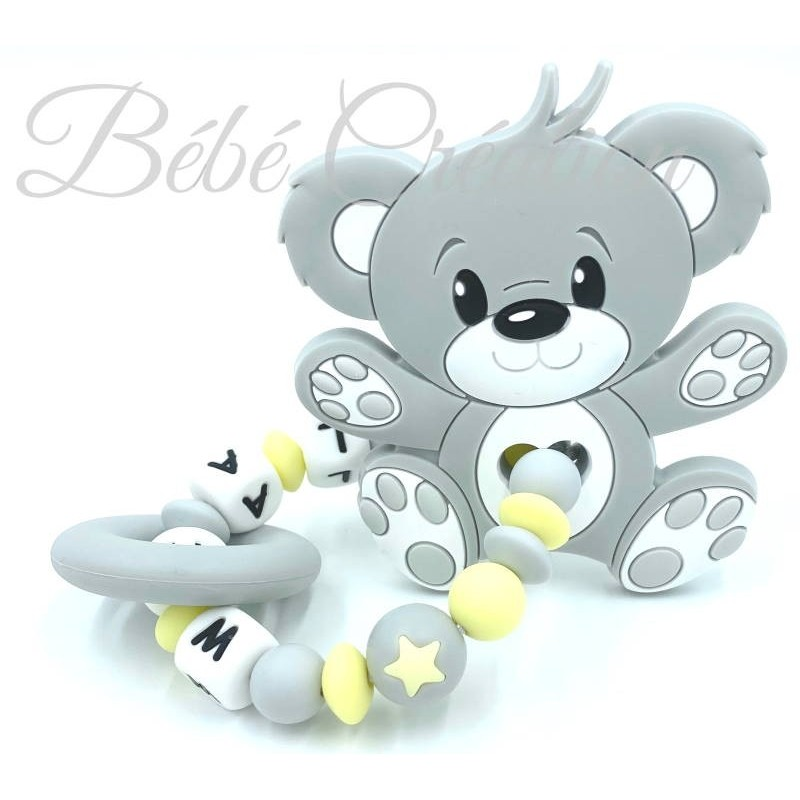 Hochet perle silicone-personnalisable-Hochet silicone Ourson Gris jaune-personnalise