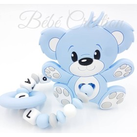 Hochet perle silicone-personnalisable-Hochet silicone Ourson bleu-personnalise