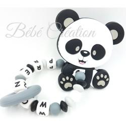 Hochet silicone Panda gris personnalisé Hochet perle silicone   Bébé Création