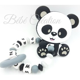 Hochet silicone Panda gris personnalisé Hochet perle silicone