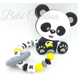 jouet-hochet-silicone-personnalisé-panda-gris-et-jaune