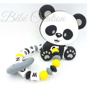 Hochet-perle-silicone-personnalisable-Hochet-silicone-Panda-Jaune-personnalise