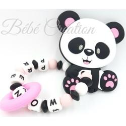 jouet-hochet-silicone-personnalisé-panda-rose