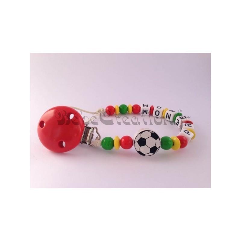 Attache-tetine-personnalise-Portugal-Football-en-bois