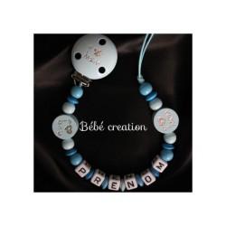 Attache tétine personnalisée bois J'Aime mes Parents Bleu Argenté  Bébé Création