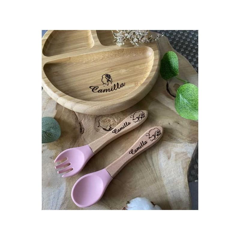 Couvert bébé personnalisé Assiette bébé bambou personnalisable