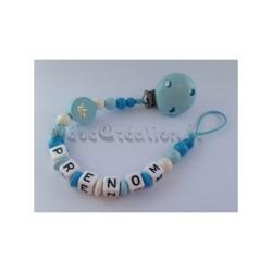 Petit Prince / Princesse Petit Prince bleu Attache tétine personnalisée prénom - Accroche sucette prénom
