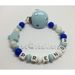 Etoile Etoile bleue Silicone Attache tétine personnalisée silicone prénom - Attache sucette personnalisée prénom silicone