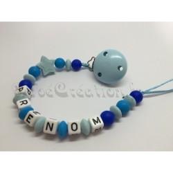 Attache tétine personnalisé Etoile  Etoile bleu marine Silicone  Bébé Création