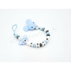 Attache tétine personnalisé Koala   Koala Bleu Silicone  Bébé Création