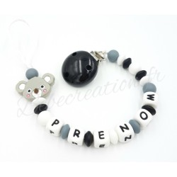 Attache-tétine-personnalisée-silicone-koala-grey