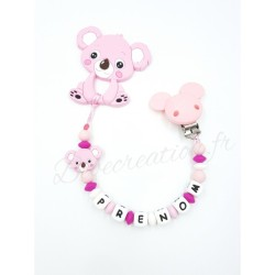 Attache-tétine-personnalisée-silicone-koala-rose-pack