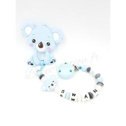Koala  Pack Koala bleu Silicone Attache tétine personnalisée silicone prénom - Attache sucette personnalisée prénom silicone