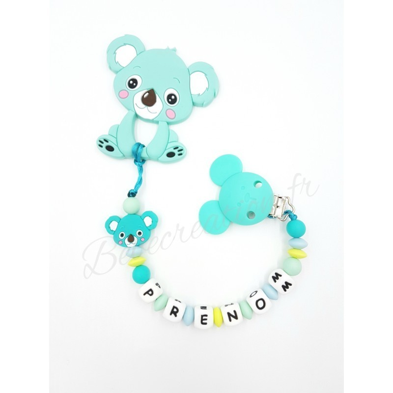 Attache tétine personnalisee silicone Pack Koala Océan Silicone  Bébé Création