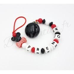 Attache-tétine-personnalisée-silicone-souris-rouge