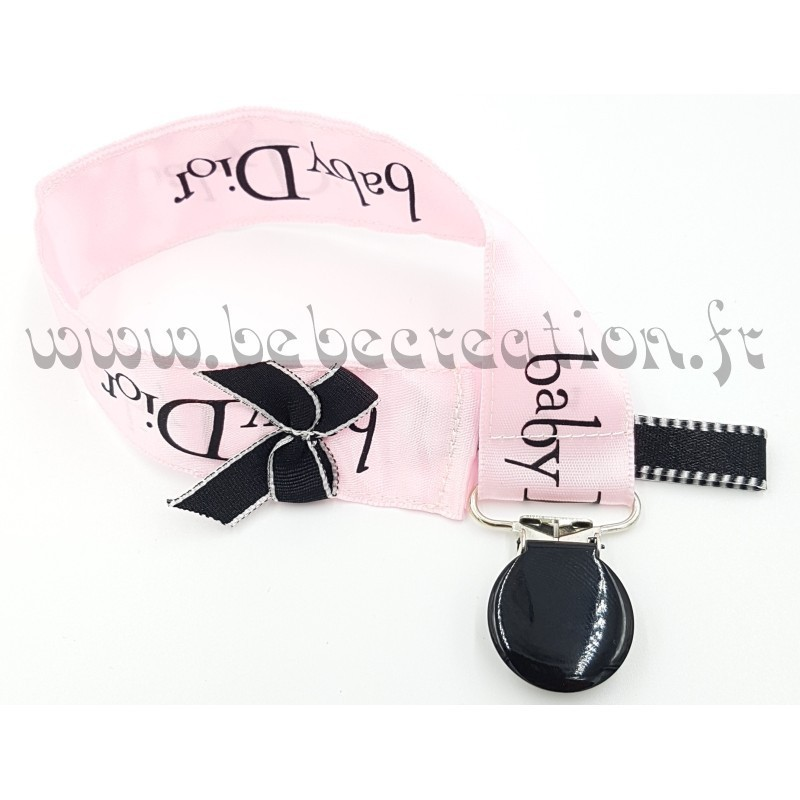 attache-tetine-ruban-Baby Dior Rose Satin-a-personnaliser