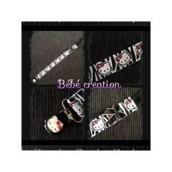 accroche-tetine-personnalisé-ruban-hello-kitty-zebre