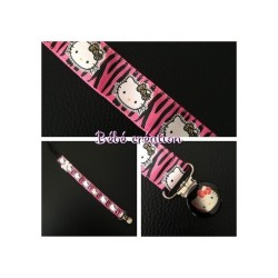 accroche-tetine-personnalisé-ruban-hello-kitty-zebre-rose