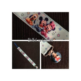 attache-tetine-ruban-Mickey et Minnie-a-personnaliser