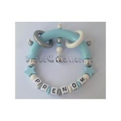 Hochet Etoile bleue personnalisé Hochets perles en bois   Bébé Création