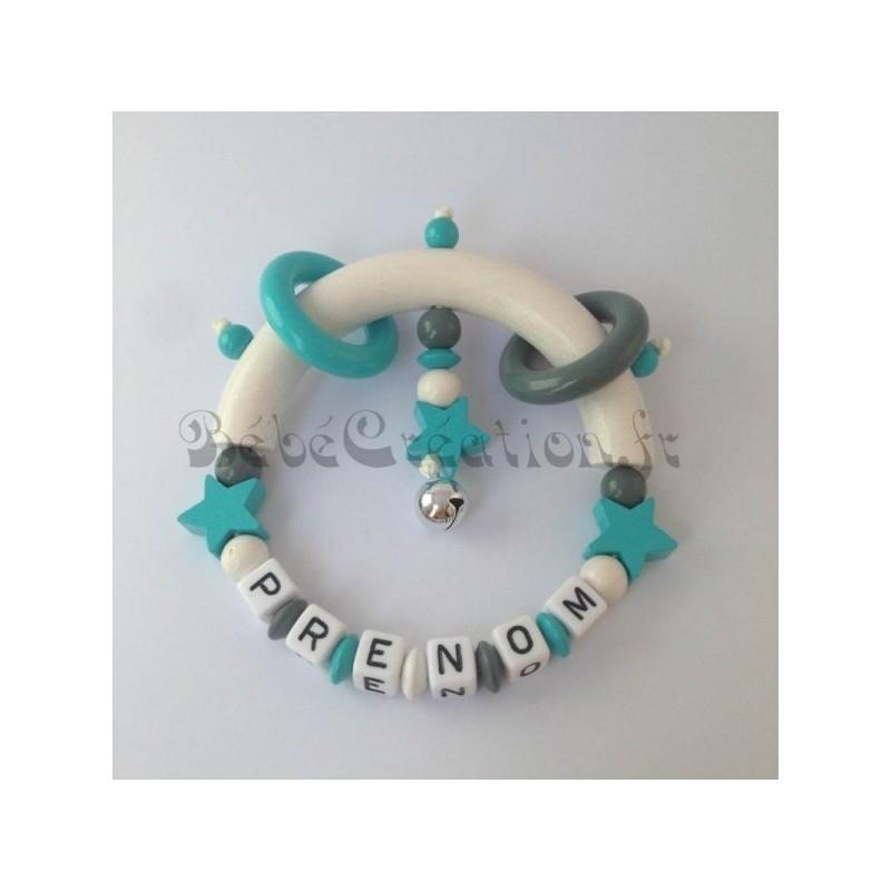 Hochet Etoile Turquoise personnalisé Hochets perles en bois   Bébé Création