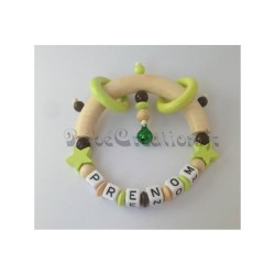 Hochet Etoile Anis personnalisé Hochets perles en bois   Bébé Création