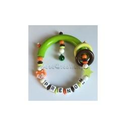 Hochet Etoile Renard Mandarin personnalisé Hochets perles en bois   Bébé Création