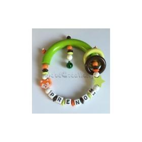 Hochets perles en bois-personnalisable-Hochet Etoile Renard Mandarin-personnalise
