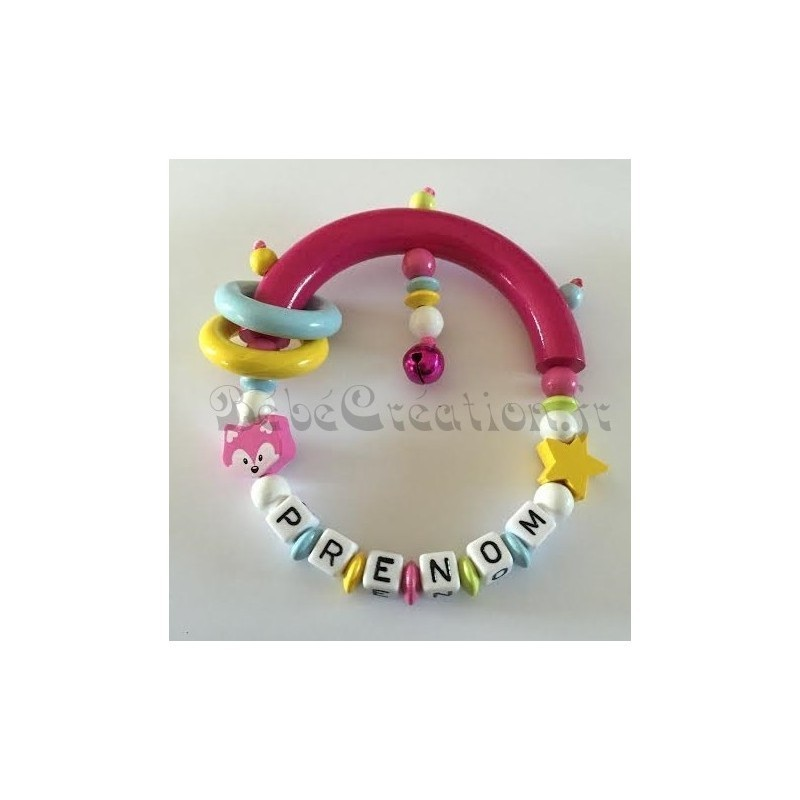 Hochets perles en bois-personnalisable-Hochet Etoile Renard Rose-personnalise