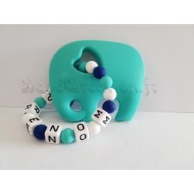 Hochet silicone Éléphant turquoise personnalisé Hochet perle silicone