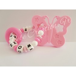 hochet-personnalise-silicone-papillon-rose