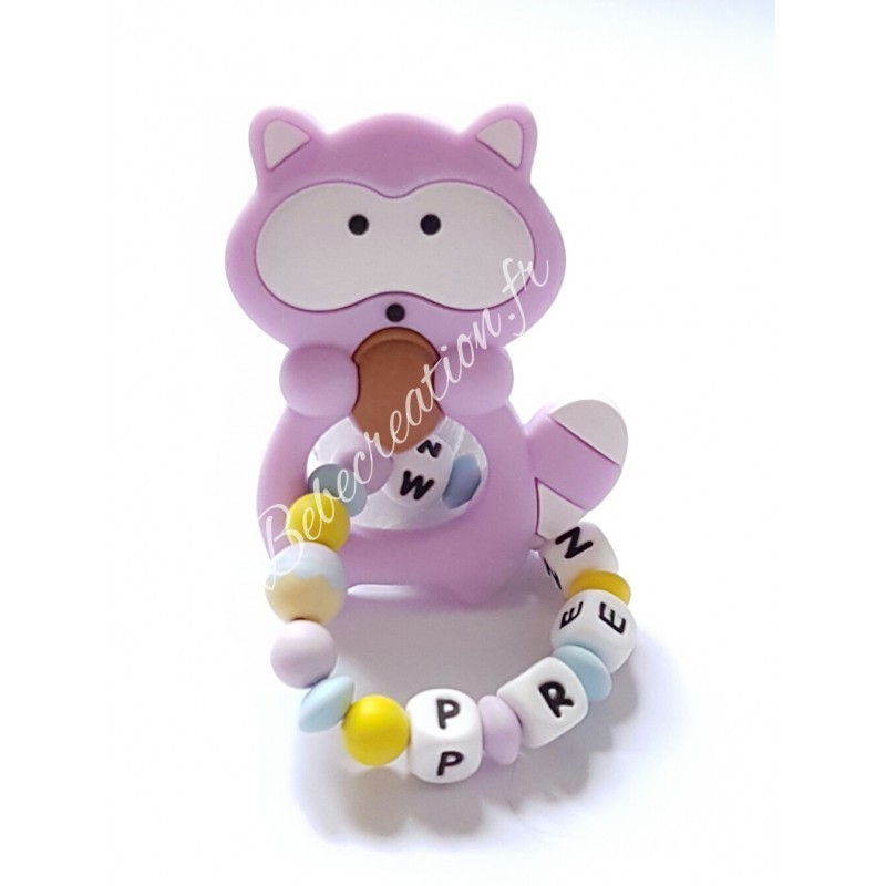 Hochet-perle-silicone-personnalisable-Hochet-silicone-Raton-Parme-personnalise