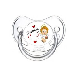 Prénom Logo Thème Ange / Visage / flèche Tétine personnalisée sucette bébé personnalisée en couleur