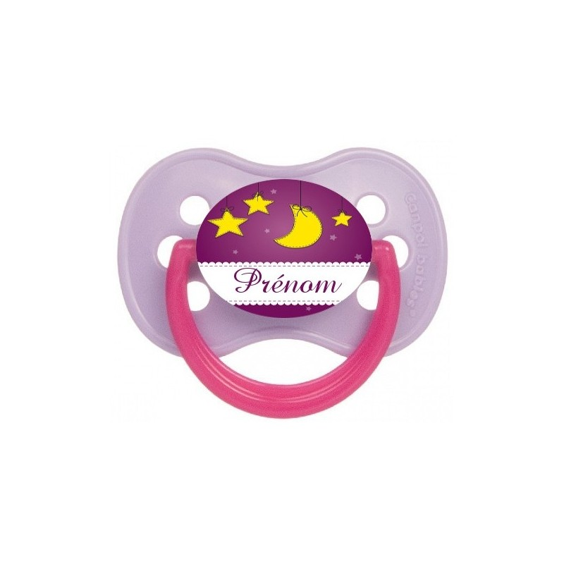 Sucette-personnalisee-prenom-Thème-Lune-/-Soleil-Tetine-personnalisee