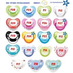 Sucette personnalisée Prénom Logo Main de Fatma Garçon sucette personnalisée Bébé Création