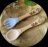 fourchette et cuillère en bois et silicone personnalisable lili